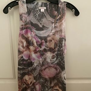 Xhilaration sequin floral tank size woman's small
